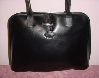 Vintage Long champ black  leather  satchel tote Bag .