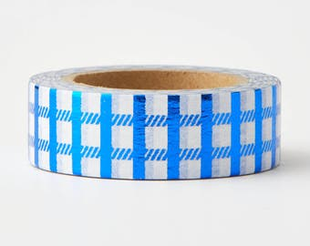 Blue Checker Foil Tape - craft supplies- train washi-card making- weddings- planner stickers- decorative tape-Love My Tapes