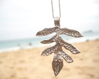 Sterling Silver Lau'ae Necklace, Hawaiian Fern Necklace, Sterling Silver Leaf Necklace, Tropical Jewelry, Botanical Gift, Wedding Jewelry