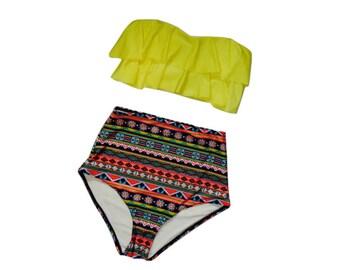 High Waist Ruffle Aztec Bikini