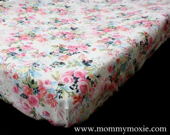 Fitted Crib Sheet/Changing Pad Cover/Mini Crib Sheet in Vintage Roses - Flower Floral  Nursery Print - by Mommy Moxie on Etsy