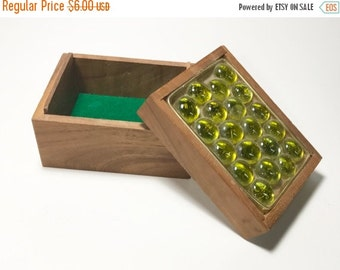 HALF OFF Green Bubble Top Glass Wood Box Lime Green