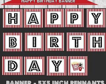 Movie Party Banner, Happy Birthday banner, movie party, movie birthday banner, movie party printables, printable movie banner, movie party