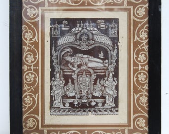 VTG Hindu Photo, Reclining VISHNU, Small Framed Sepia Picture, India, Sudarsanam