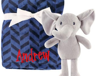 PERSONALIZED 2 Piece Baby Gift Crib Blanket and Plush Elephant Toy Nave Blue Design
