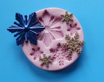 Molds Snowflake Christmas Mold Mould Resin Clay Fondant Wax Soap Charms Flexible Molds