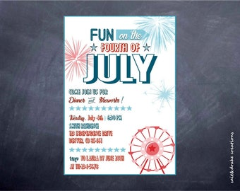 Fourth of July 4th of July Fireworks Party Invitation Digital Printable!