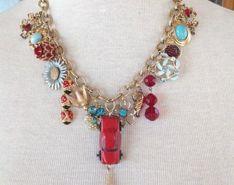 Assemblage statement necklace