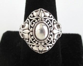 Large 925 Sterling Silver Ring - Vintage Ornate Filigree Design, Size 9 3/4