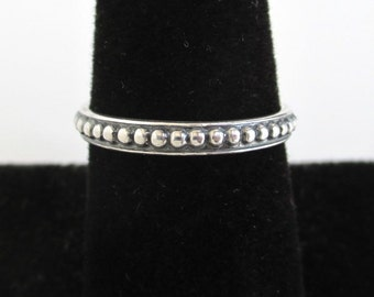 925 Sterling Silver Band Ring - Raised Dot Texture, Vintage Size 8