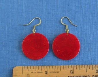 Red Marbled Bakelite Pierced Earrings w/ Solid Brass Hardware - Pierced, Small Size