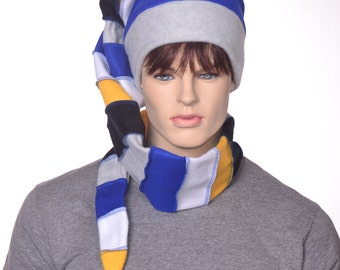Striped Stocking Cap Extra Long Gray Blue White Gold Black Men Women Scarf Elf Hat