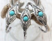 ONE Feather shape and Howlite Turquoise Cuff bracelets Alloy silver plated cuff bracelet native Bohemian stacking style bracelet by Inali