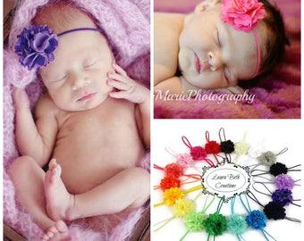 Baby Headbands, Newborn Headbands, You pick 2, Mini Satin Mesh Flower Headbands, Toddler Headband, Infant Headband Set, Baby Girl Photo Prop
