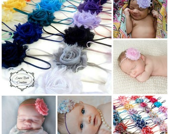 You Pick 5 - Shabby Chic Rose Headband Set, Infant Headband, Newborn Headband, Children's Headband, Flower Headband Set, Baby Headband Set