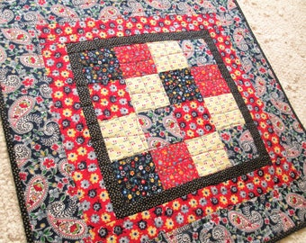 Patriotic Americana Patchwork Quilted Table Topper