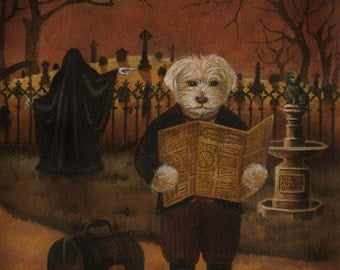 Ghost Dog Print, Dog Art, Mystery Dog, Grim Reaper, Greyfriars Bobby, Cemetery, Spooky, Halloween,
