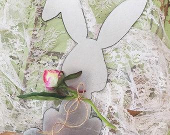 Small Whimsical Bunny | Little Metal Bunny | Rusty | Galvanized | Easter Bunny Decor | Metal Bunny Sign