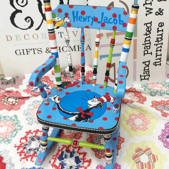 Child s hand painted rocking chair - Dr Seuss Rocking Chair The Cat In The Hat Green Eggs And Ham