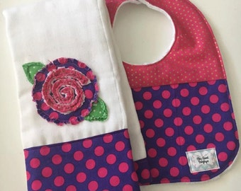 Modern embroidered shabby flower applique boy burp cloth and matching bib - baby shower, gift