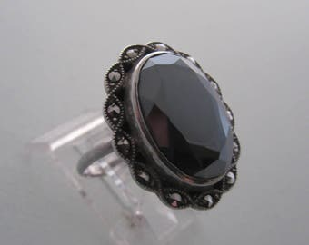 Faceted Hematite with Marcasite Vintage Sterling Ring