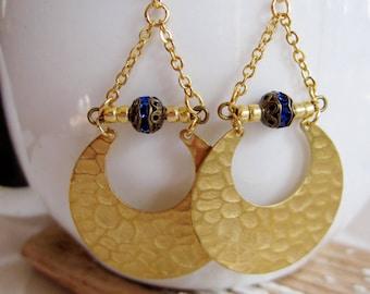 Hammered Brass Crescent earrings, Blue Czech Bead, Eclipse, Crescent Moon, Triangle Dangles, geometric, Modern style, Everyday Wear