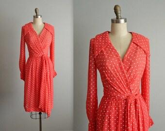 70's Polka Dot Dress // Vintage 1970's Coral Chiffon Polkadot Wrap Dress S