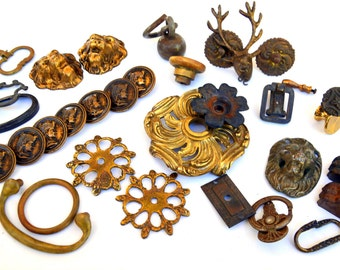Misc Brass Hardware Findings Coll. of Ornate, Functional Knob, Feet, Button, Rosette, Filigree, Handle, Plate, Finial -- Steampunk Lot #83