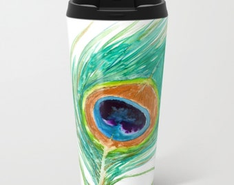 Travel Mug - Ceramic or Metal Coffee Cup - Peacock Feather Watercolor Painting - Artistic Hot Cold 12 or 15oz Beverage Mug