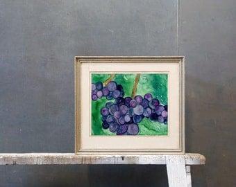 Original Still Life Watercolour Painting  - Wine Grapes Art