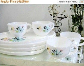 Vintage Fire King Snack Set Fireking Retro Mid Century Cups Plates