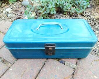 Metal Tool Box. Utility Chest. Patent 3171566. Blue Tool Box. Small Toolbox. Tool Tote. Toolbox. Craft Box. vintage 1960s. blue metal box.
