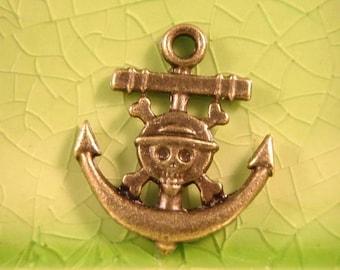 10 bronze Anchor Skull charms pendants cross bones pirate ship pirates caribbean skullies skellies 22mm x 19mm - C0355-10