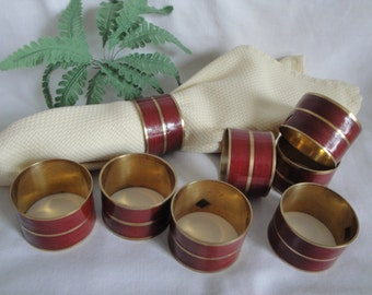 8 Vintage Brass Napkin Rings Red & Gold Made in India
