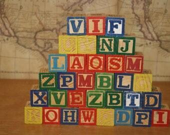 Wooden Letter Blocks - set of 33 - item #2427