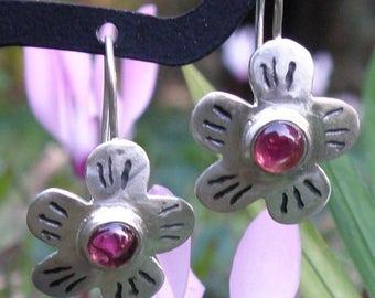 Pink Tourmaline Earrings, Blossom Earrings Spring Jewelry, Floral Earrings in Sterling Silver, Silver Flower Earrings Tourmaline Jewelry
