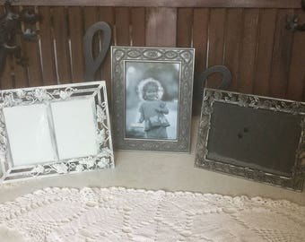 Metal Photo Frame Grouping, Free Standing Picture Frames, Family Photos, Frame Trio, Decorative Photo Frames