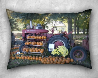 Farmall A Tractor and Fall Pumpkin Harvest 20x14 Velveteen Lumbar Pillow Cover OOAK Home Décor Photo Pillow – Celebrate the Harvest