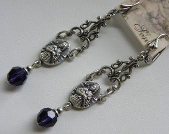 Religious Assemblage Earrings Virgin Mary Catholic Christian Long Purple Silver Filigree Dangle Earrings