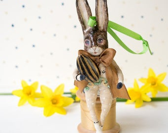Vintage style Easter rabbit with a humbug Easter egg. Easter decoration/ hanging ornament/ Easter figurine. Easter gift. Birthday gift.