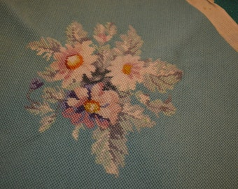 Vintage Needlepoint, Flowers with Blue Backing, 15 x 15