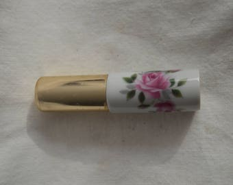 Porcelain Perfume Atomizer with Pink Rose and Green Leaves Design by Limoges France