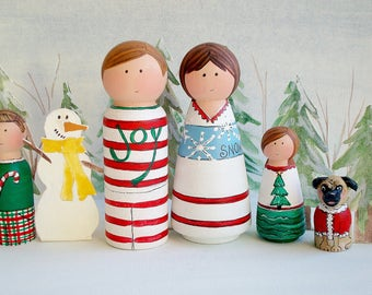 "Peg People Family-""Meet the Family, Christmas PJ Party ""-Ready to Ship Family Gift"
