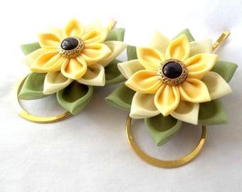 Succulent Flower Bobby Pins Yellow Green Tsumami Kanzashi