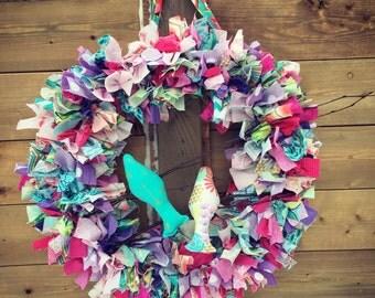Rag wreath , wreath , home decor , birds , birds on a wire , rag banner, front door wreath