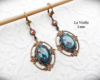 Bloodstone Glass Victorian Earrings, Vintage Cabochon Earrings, Dark Green Gothic Earrings, Estate Style, Victorian Jewelry, Gothic Jewelry