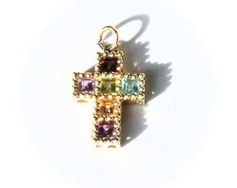 Estate 14k Gold Multi Gemstone Cross Pendant Charm Amethyst Peridot Garnet Citrine