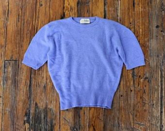 Dalton Cashmere Sweater XS/S • Short Sleeve Sweater • Cropped Sweater • Soft Sweater • 60s Sweater • Blue Sweater • Crewneck Sweater | T651