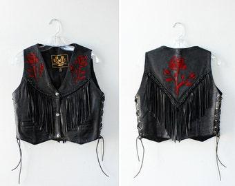 Floral Applique Leather Vest XS/S • Leather Fringe Vest • Vintage Vest • Black Leather Vest • 90s Vest • Motorcycle Vest • Black Vest   T742
