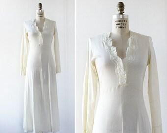 Knit Dress S • 90s Maxi Dress • Cream Maxi Dress • Cotton Maxi Dress • 90s Dress • Long Sleeve Maxi Dress • Vintage Maxi Dress | D1037